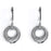 Sterling Silver Rhodium Plated and CZ Circle Dangle Earrings