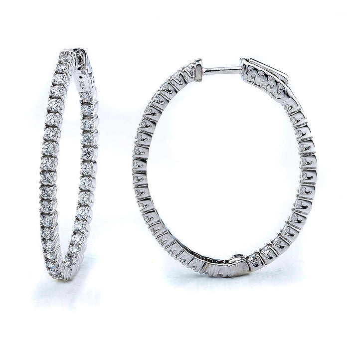Sterling Silver Rhodium Plated and CZ Oval Hoop Earrings
