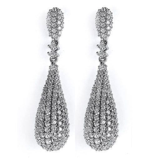 Sterling Silver Rhodium Plated and micro-pave CZ Teardrop Dangle Earrings