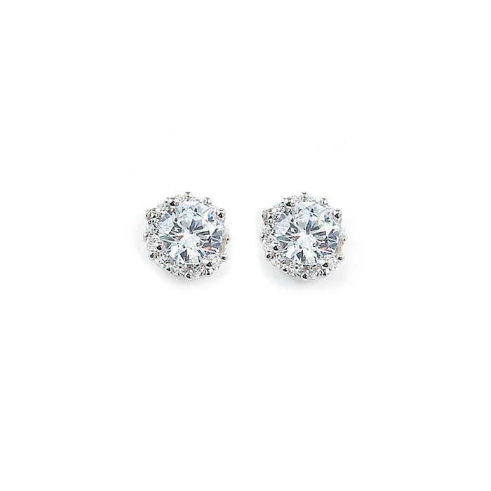 Sterling Silver Rhodium Plated and CZ Halo Stud Earrings