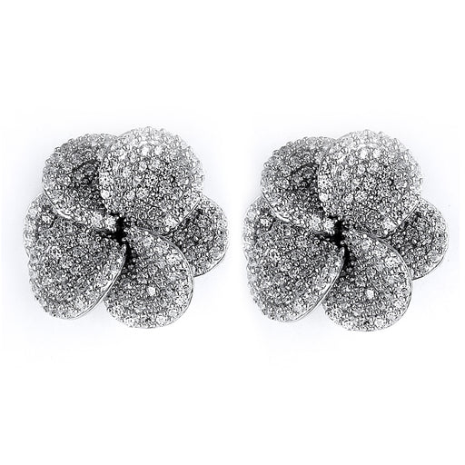 Sterling Silver Rhodium Plated and micro-pave CZ Flower Stud Earrings