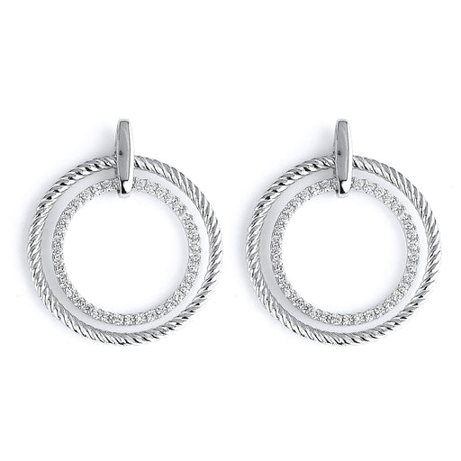 Sterling Silver Rhodium Plated and CZ Circlular Dangle Earrings
