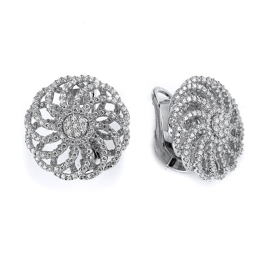 Sterling Silver Rhodium Plated and CZ Flower Earrings