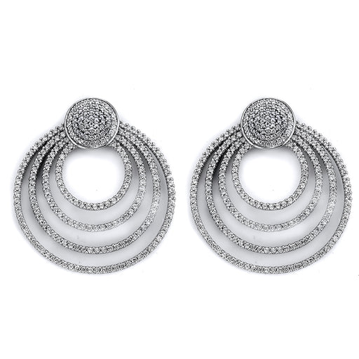 Sterling Silver Rhodium Plated and CZ Circular Earrings