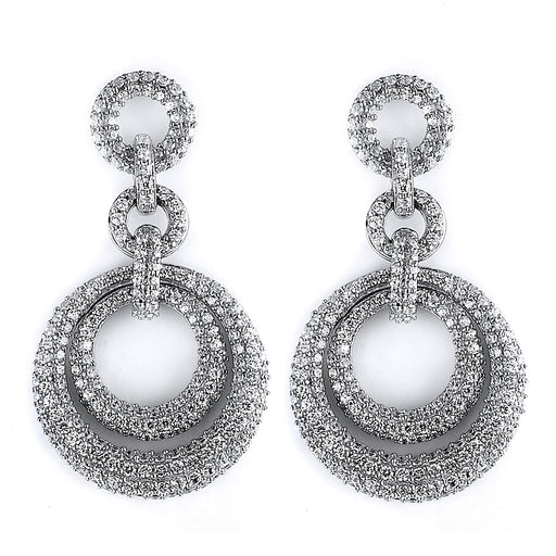 Sterling Silver Rhodium Plated and micro-pave CZ Dangle Earrings