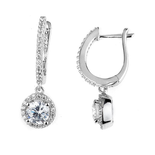 Sterling Silver Rhodium Plated and CZ Dangle Halo Earrings