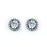 Sterling Silver Rhodium Plated and CZ Stud Halo Earrings