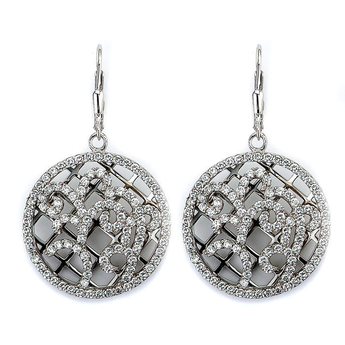 Sterling Silver Rhodium Plated and CZ Ornate Earrings