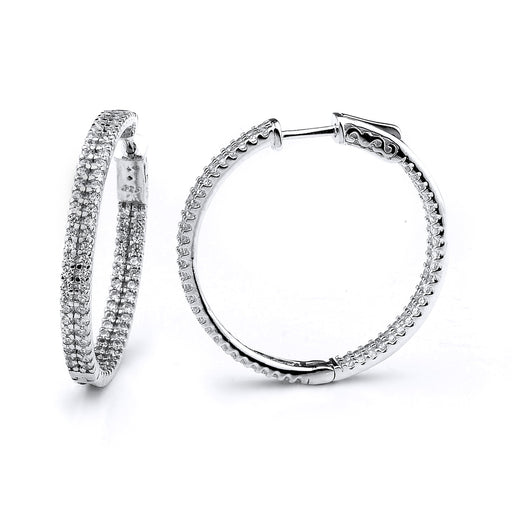 Sterling Silver Rhodium Plated and CZ Hoop Earrings