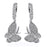 Sterling Silver Rhodium Plated and CZ Butterfly Dangle Earrings