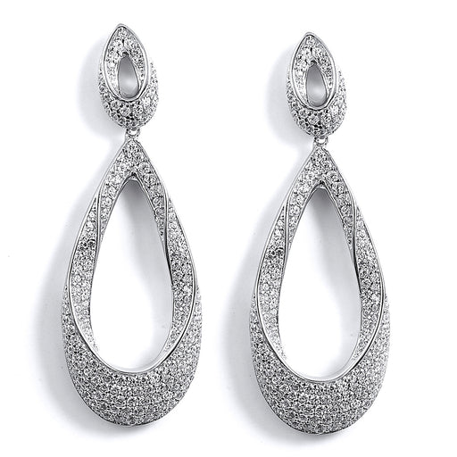 Sterling Silver Rhodium Plated and CZ Teardrop Dangle Earrings