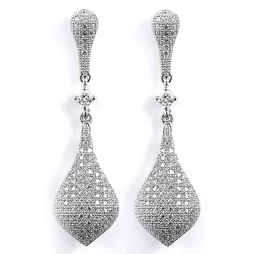 Sterling Silver Rhodium Plated and CZ Dangle Earrings