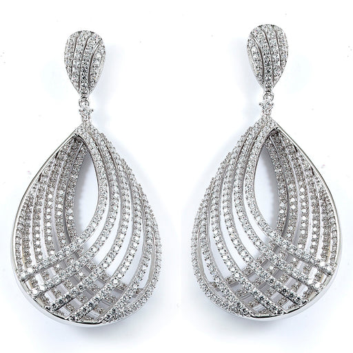 Sterling Silver Rhodium Plated and micro-pave CZ PearShape Dangle Earrings