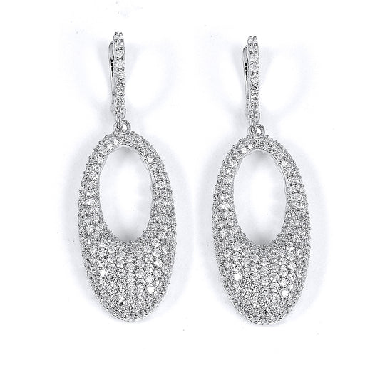 Sterling Silver Rhodium Plated and micro-pave CZ Oval Earrings