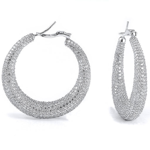 Sterling Silver Rhodium Plated and micro-pave CZ Hoop Earrings