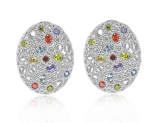 Sterling Silver Rose Gold Plated and Multi-color CZ Earrings