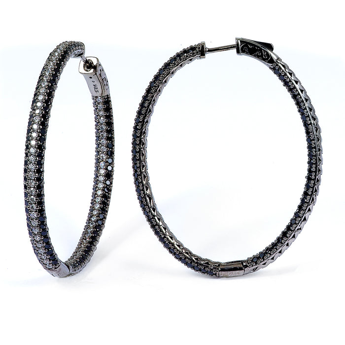 Sterling Silver Rhodium Plated with Black and White CZ Hoop Earrings