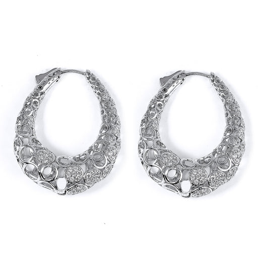 Sterling Silver Rhodium Plated and CZ Filigree Hoop Earrings