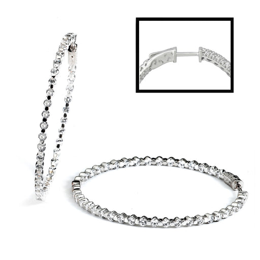 Sterling Silver Rhodium Plated with CZ Hoop Earrings