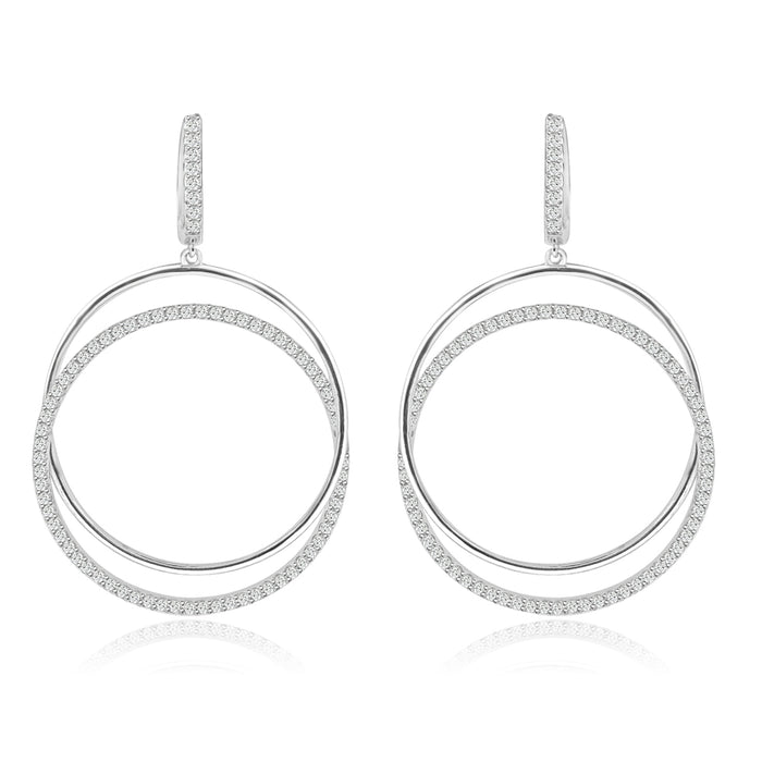 Sterling Silver Rhodium Plated and CZ Dangle Hoop Earrings
