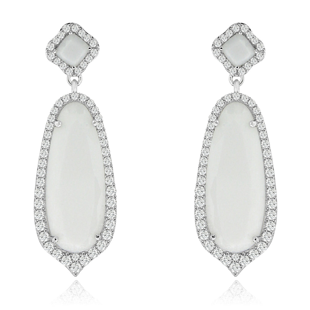 Sterling Silver Rhodium Plated and Simulated Milky Crystal with CZ Earrings