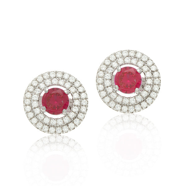 Sterling Silver Rhodium Plated and 5mm Simulated Ruby center stone with CZ Earrings
