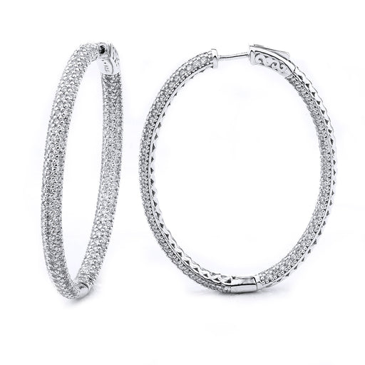 Sterling Silver Rhodium Plated and CZ micro-pave Oval Hoop Earrings