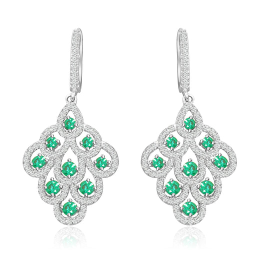 Sterling Silver Rhodium Plated and 3mm Simulated Gemstone with CZ Earrings