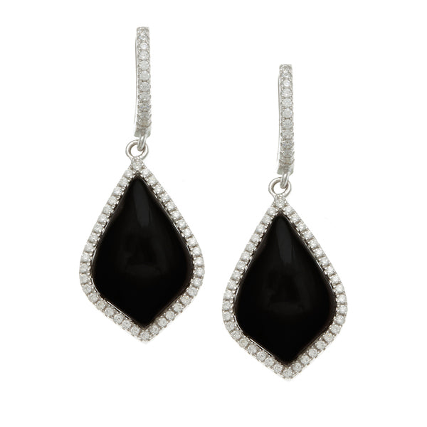 Sterling Silver Rhodium Plated and Simulated Black Onyx with CZ Earrings