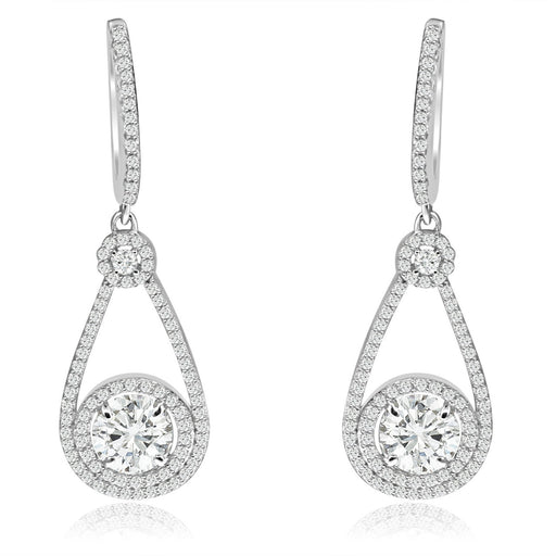 Sterling Silver Rhodium Plated and CZ Earrings