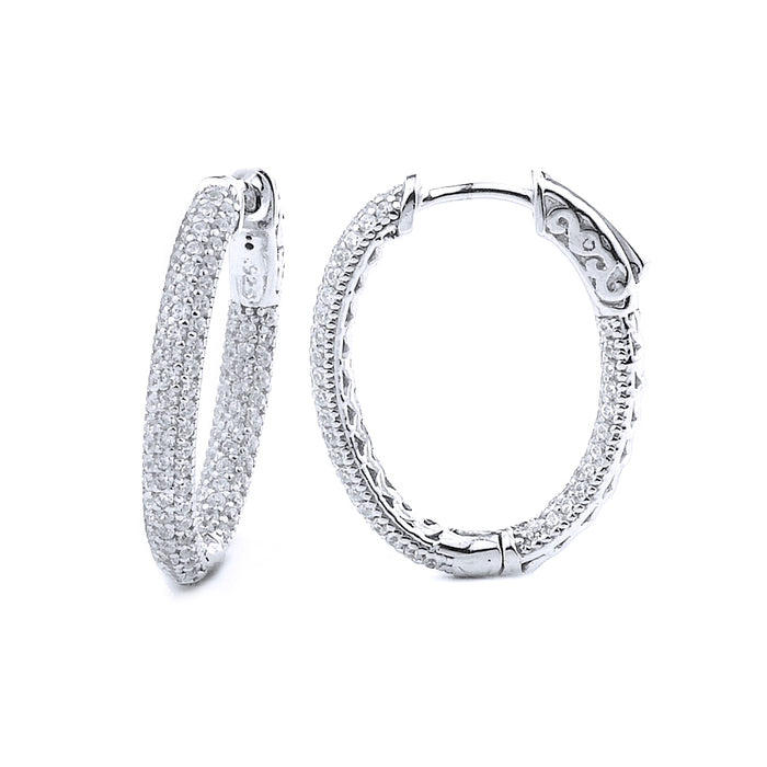 Sterling Silver Rhodium Plated and micro-pave CZ Oval Hoop Earrings