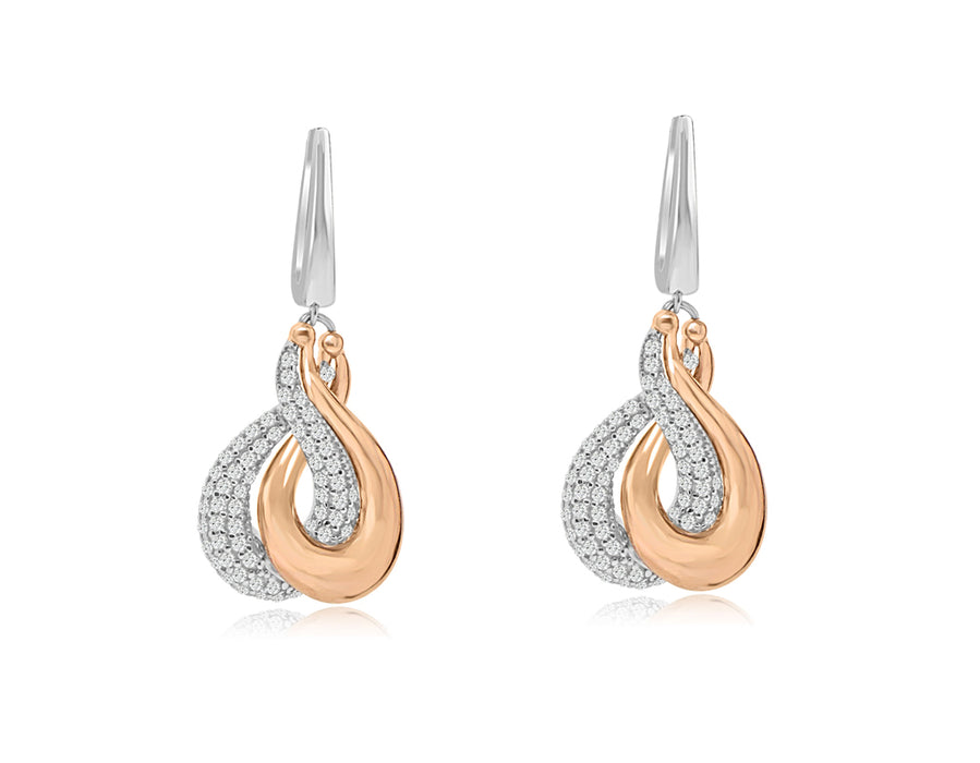 Sterling Silver Rhodium and Rose Gold Plated with CZ Dangle Earrings