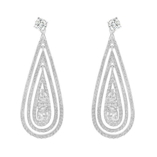 Sterling Silver Black Plated and CZ Teardrop Dangle Earrings