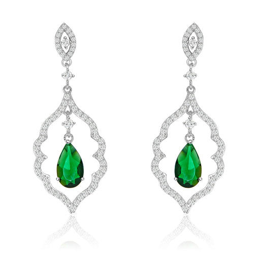 Sterling Silver Rhodium Plated with Simulated Gemstone center stone with CZ Dangle Earrings