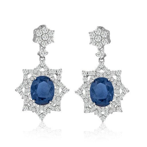 Sterling Silver Rhodium Plated with Simulated Gemstone center stone and CZ Dangle Earrings