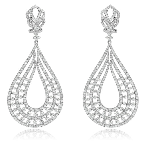Sterling Silver Rhodium Plated and CZ Chandelier Earrings