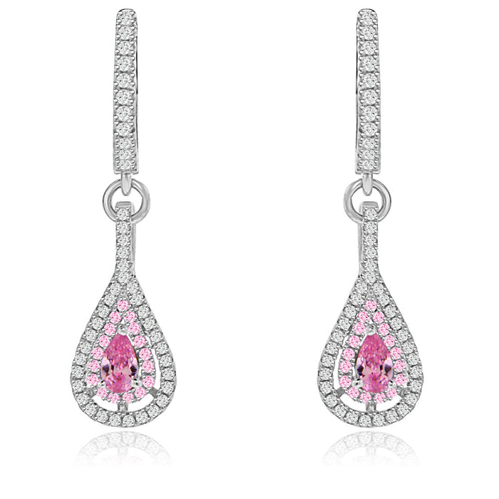 Sterling Silver Rhodium Plated with Simulated Gemstone with CZ Teardrop Dangle Earrings