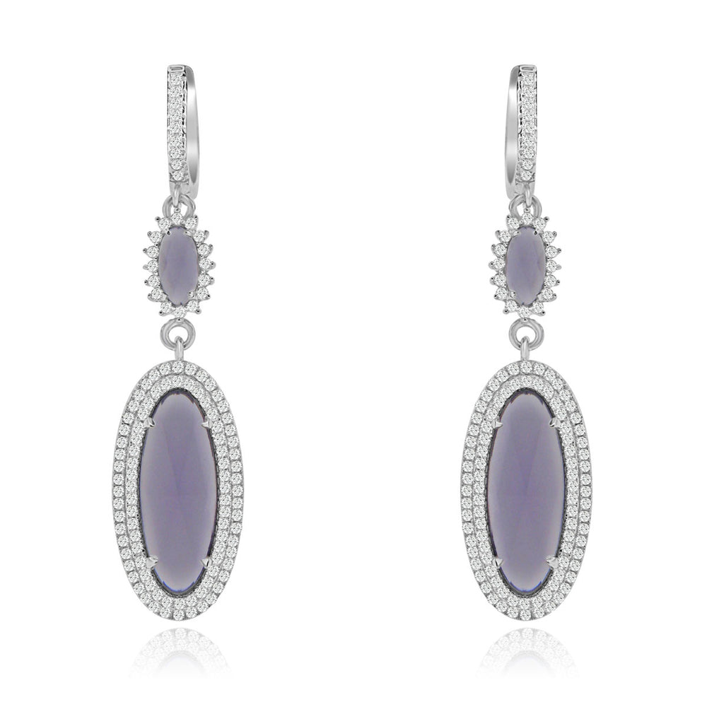 Sterling Silver Rhodium Plated and Simulated Gemstone Dangle Earrings