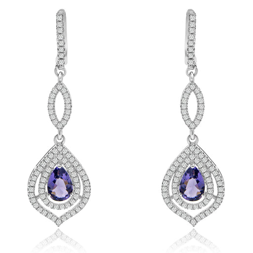 Sterling Silver Rhodium Plated with Simulated Gemstone and CZ Dangle Earrings