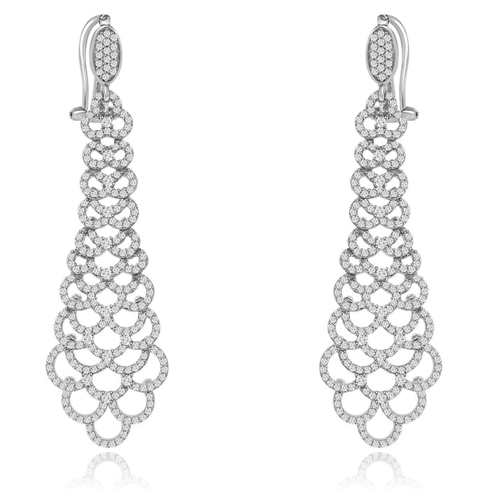 Sterling Silver Rhodium Plated and CZ Long Dangle Earrings