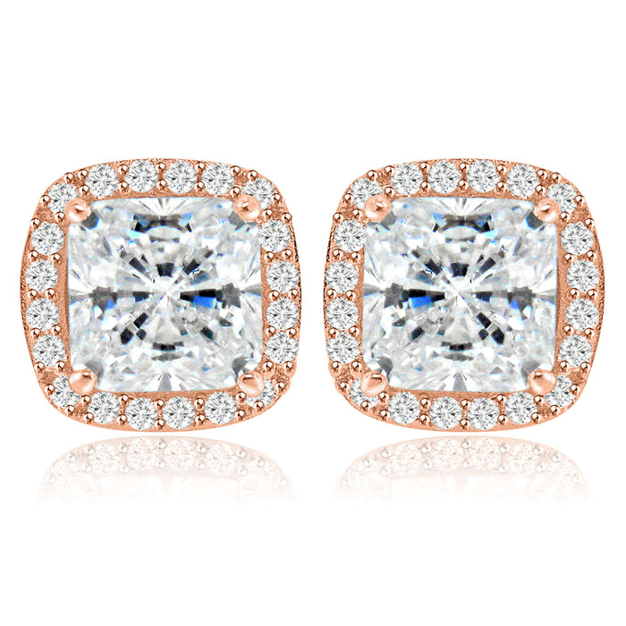 Sterling Silver Rhodium Plated and Cushion CZ Stud Earrings