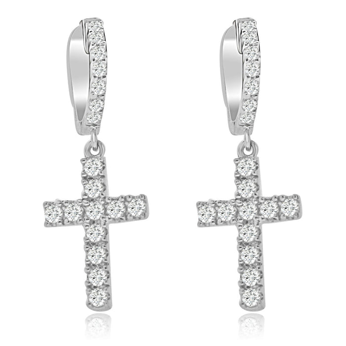 Sterling Silver Rhodium Plated and CZ Cross Dangle Earrings