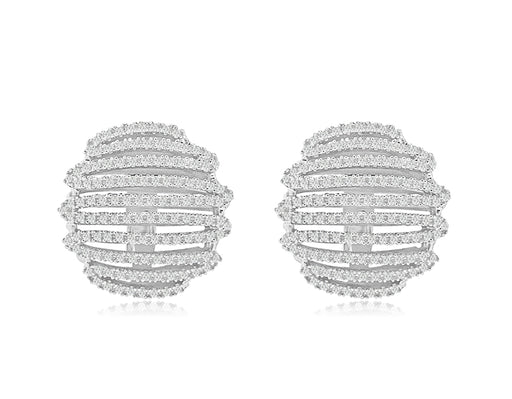 Sterling Silver Rhodium Plated and CZ Zig Zag Earrings