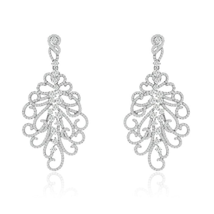 Sterling Silver Rhodium Plated and CZ Fashion Chandelier Earrings