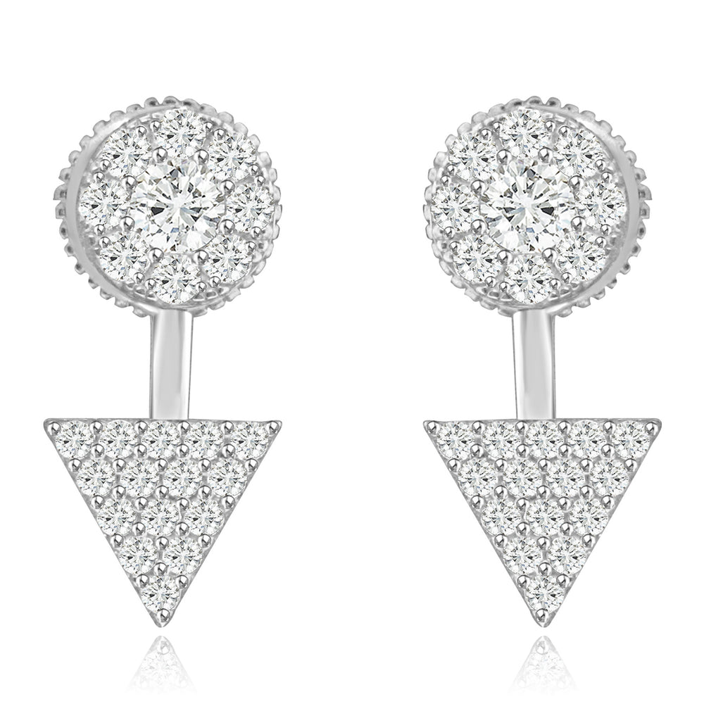 Sterling Silver Rhodium Plated with CZ Two Piece Stud Earrings