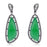Sterling Silver Black Rhodium Plated with Created Emerald and CZ Chandelier Earrings