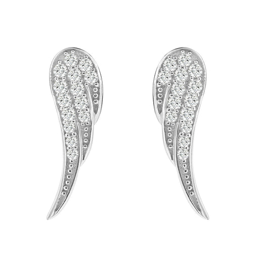 Sterling Silver Rhodium Plating and CZ Wings Stud Earrings