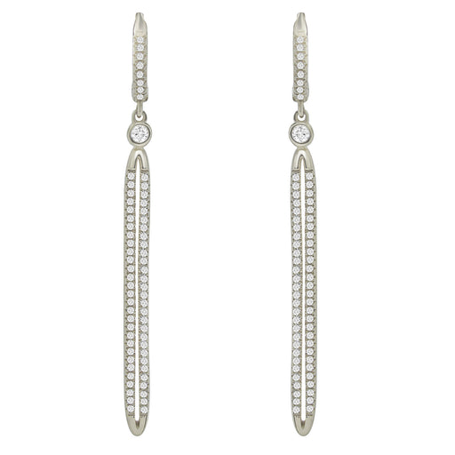 Sterling Silver Rhodium Plated and CZ Drop Line Earrings