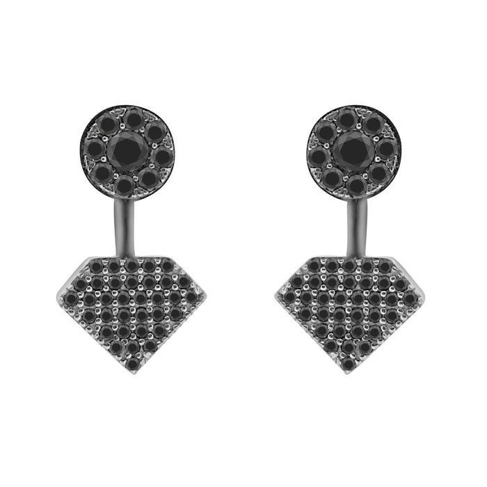 Sterling Silver Rhodium Plated and CZ Diamond Shape Stud Earrings