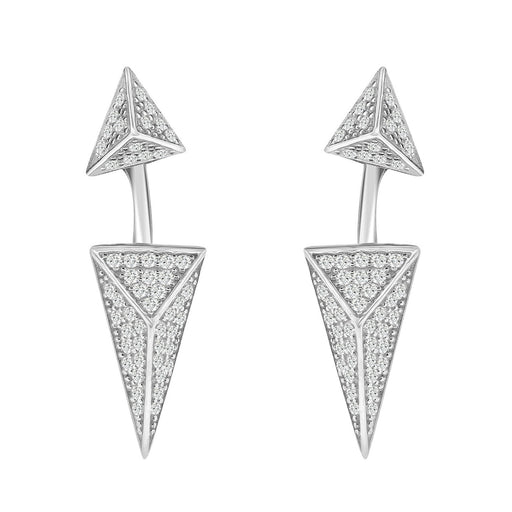 Sterling Silver Rhodium Plated and CZ Long Diamond Shape Stud Earrings